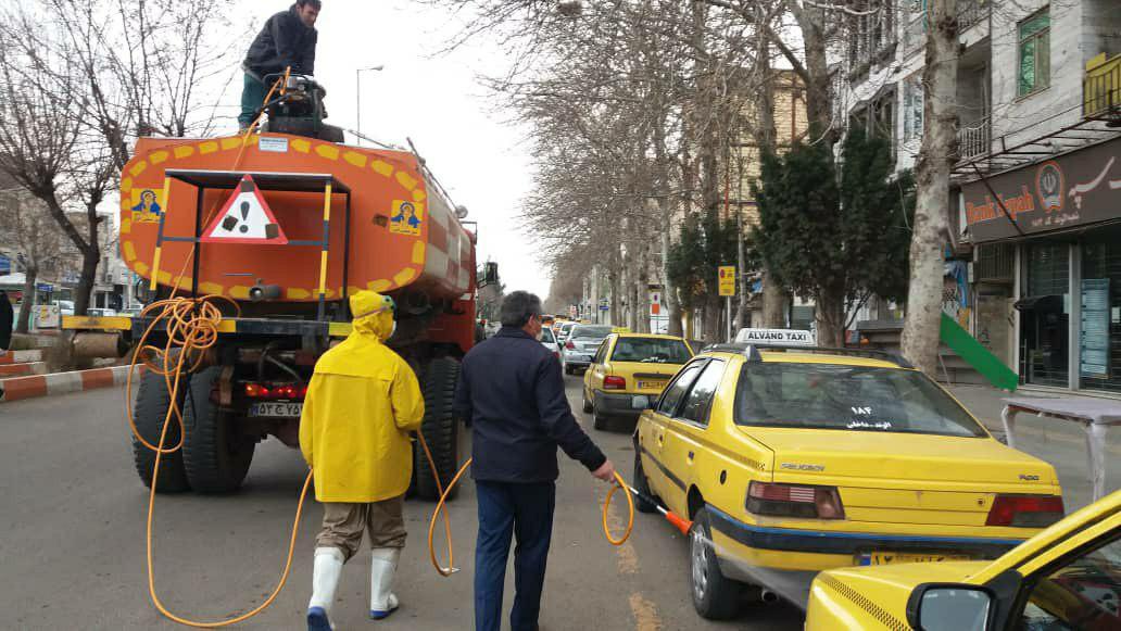 عملیات ضدعفونی و گندزدایی نقاط پرتردد شهر الوند